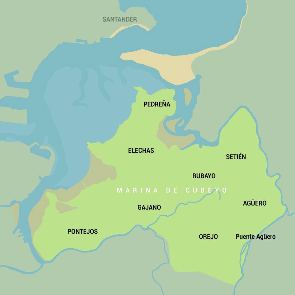 Mapa pueblos Marina de Cudeyo